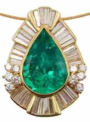 18Kt 21.91ct. Emerald & 5.20ct. Diamond Slide Pendant