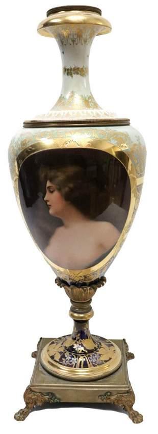 Monumental Royal Vienna Porcelain Portrait Vase