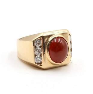 14Kt Spessartine Garnet & Diamond Ring