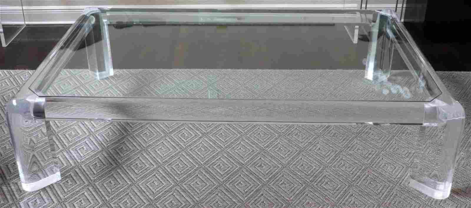 """Karl Springer """"Mark II"""" Lucite & Glass Table"""