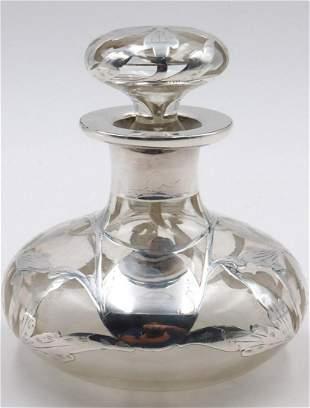 Antique Sterling Overlay & Glass Perfume Bottle