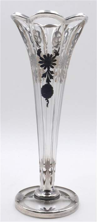 Antique Sterling Overlay & Glass Vase