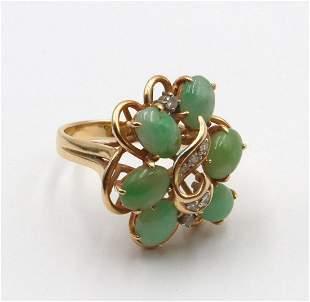14Kt Jade & Diamond Ring