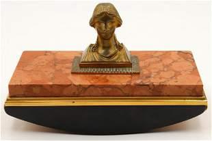 Antique 19th C. Austrian Bronze Bust Ink Blotter