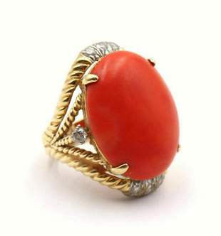18Kt Yellow Gold Coral & Diamond Ring