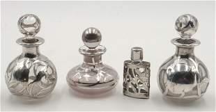 Lot of 4 Sterling Overlay Glass Perfume Bottles