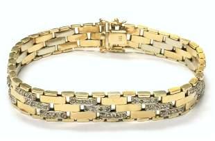 14Kt Fancy Link Diamond Men's Bracelet
