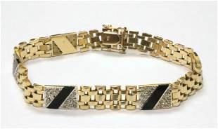14Kt Diamond & Onyx Men's Bracelet