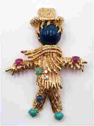 14Kt Precious Stone Scarecrow Brooch