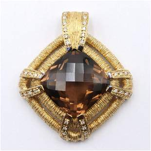 18Kt Brown Topaz & Diamond Pendant