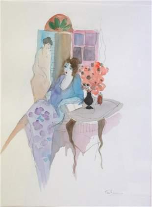 """Itzchak Tarkay """"Two Women"""" Watercolor"""