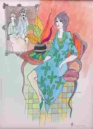 Itzchak Tarkay Original Watercolor
