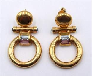 18Kt Semi-Precious Stone Earrings
