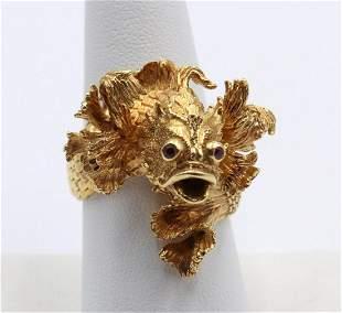 "18Kt Yellow Gold ""Fish"" Ring"