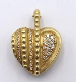 18Kt Yellow Gold & Diamond Heart Pendant