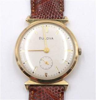 Bulova 14Kt 1962 Leather Watch