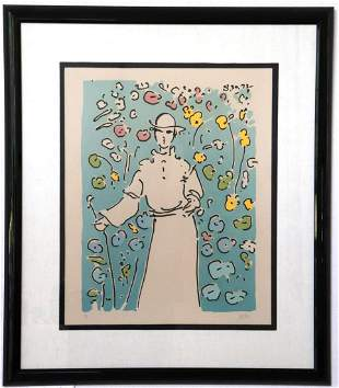 "Peter Max ""Monk in the Garden"" Serigraph"