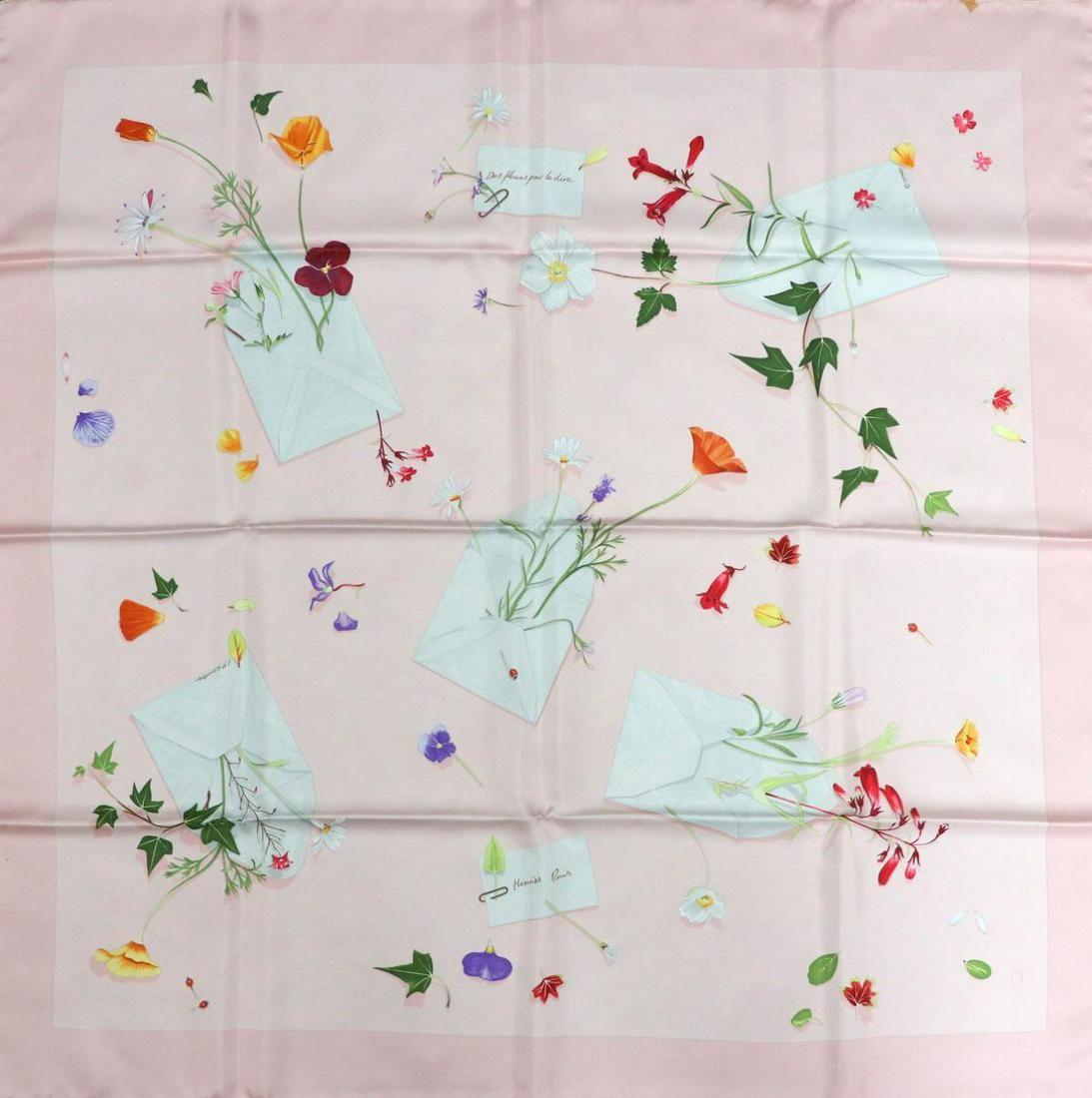 """Hermes """"Des Fleurs Pour Le Dire"""" Silk Scarf"""
