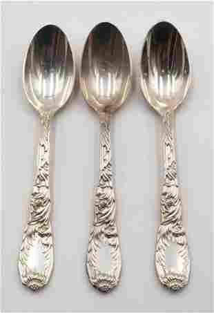 "3 Pc. Tiffany & Co. ""Chrysanthemum"" Sterling Tea Spoons"