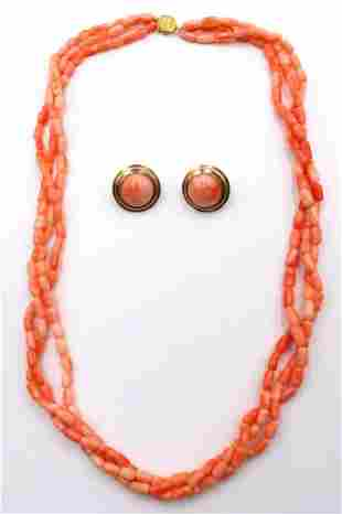 14Kt Yellow Gold & Coral Suite