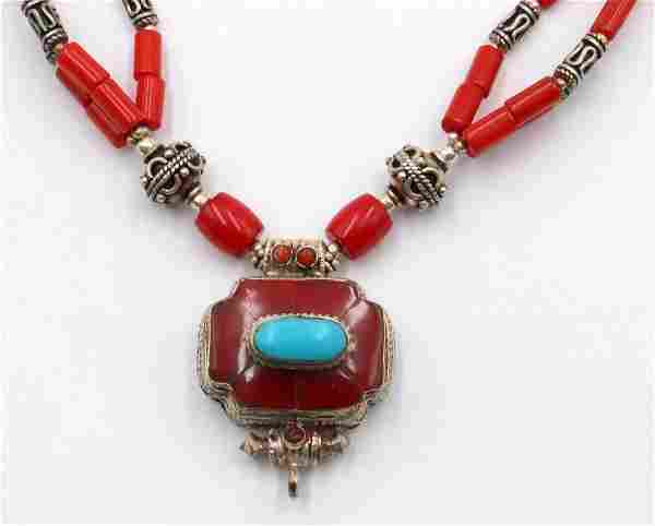 Sterling Coral & Turquoise Necklace