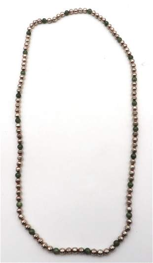 Sterling & Jade Beaded Necklace