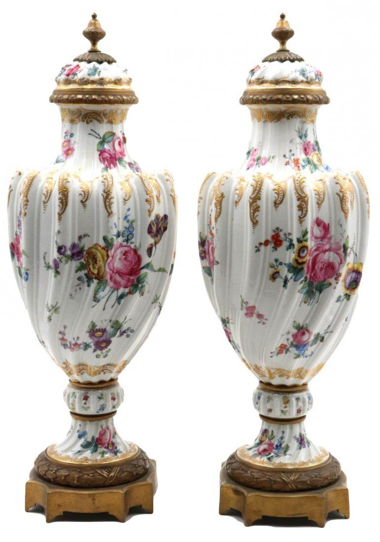Late 18th C. Sevres Porcelain & Bronze Covered Urns