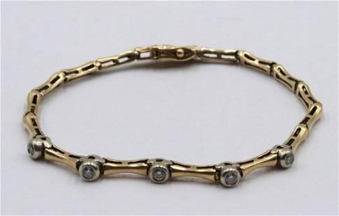 14Kt Yellow Gold & Diamond Tennis Bracelet
