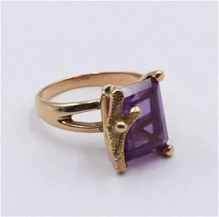 14Kt Yellow Gold & Amethyst Ring