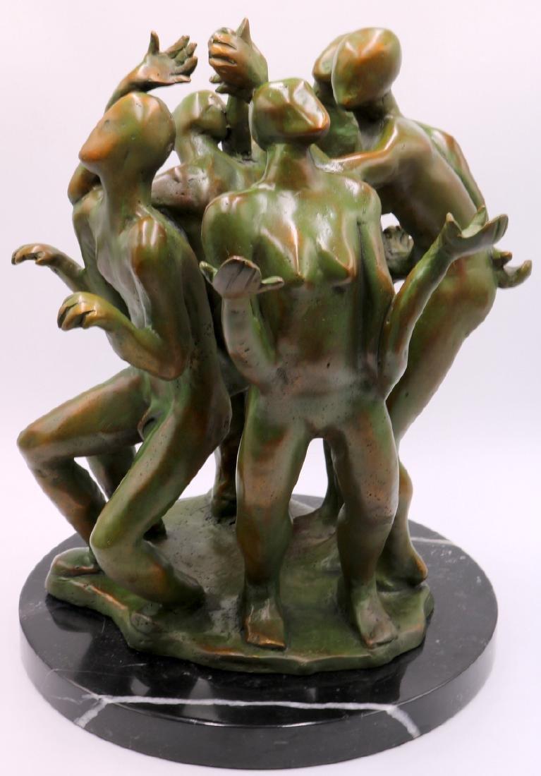 Signed Modern Abstract Green Patina Bronze Sculpture