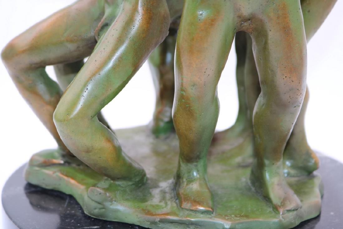 Signed Modern Abstract Green Patina Bronze Sculpture - 3