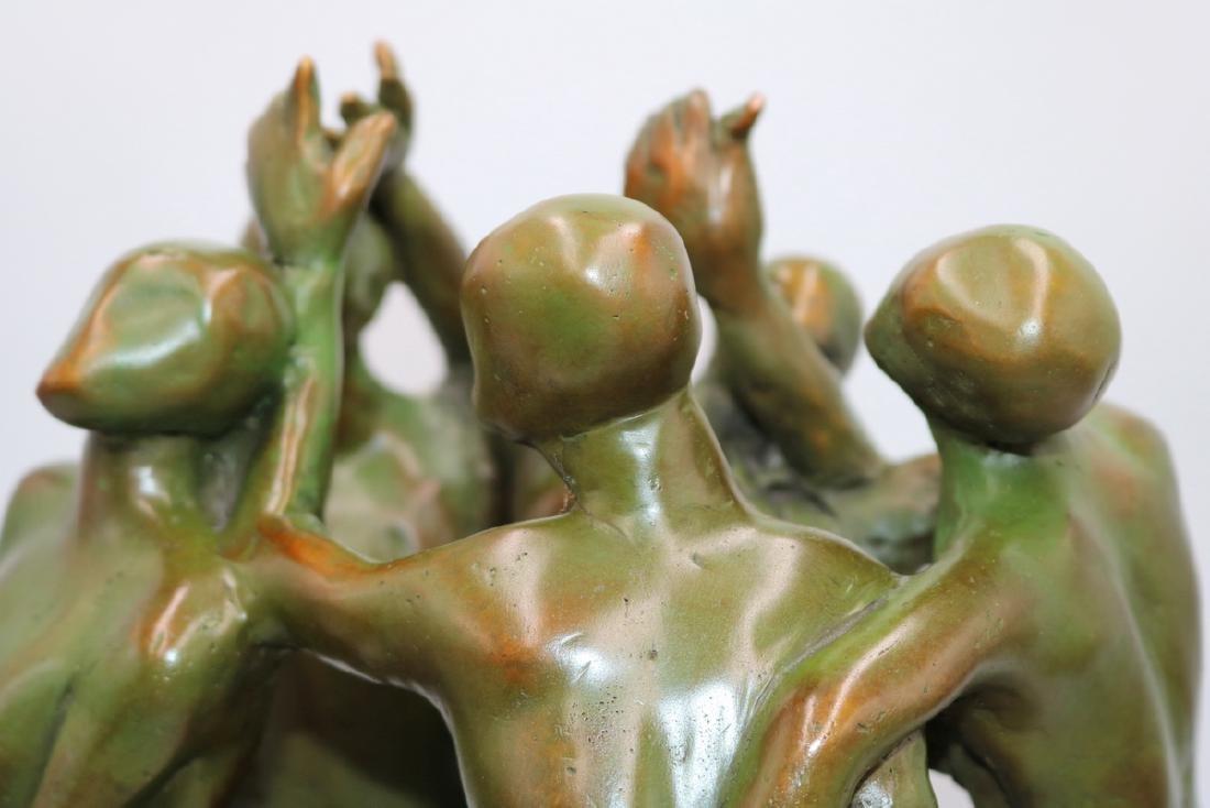 Signed Modern Abstract Green Patina Bronze Sculpture - 4