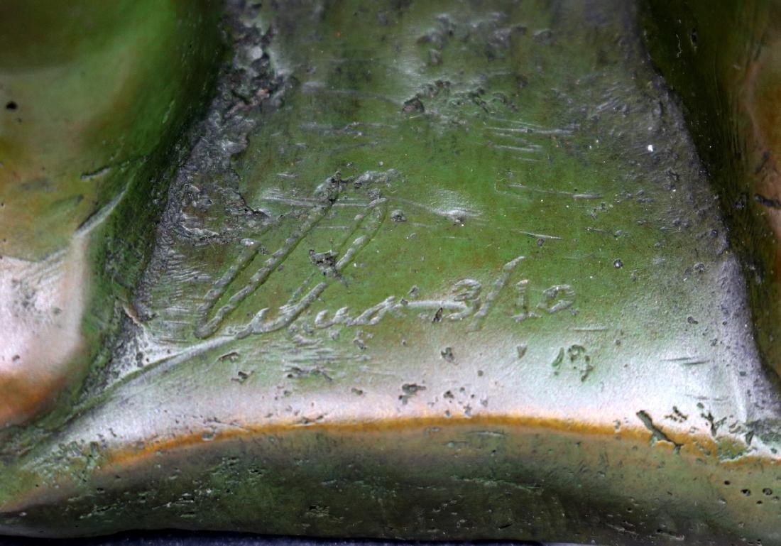 Signed Modern Abstract Green Patina Bronze Sculpture - 5