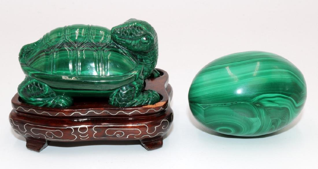 2 Pc. Chinese Carved Malachite Turtle & Egg