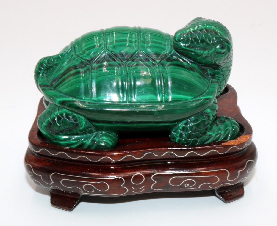 2 Pc. Chinese Carved Malachite Turtle & Egg - 2