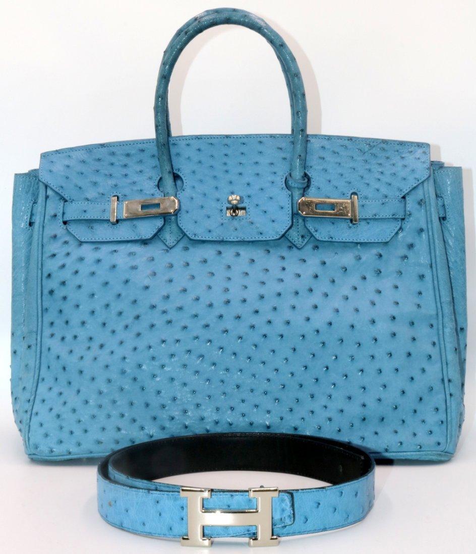 Birkin Style Blue Ostrich Bag & Belt