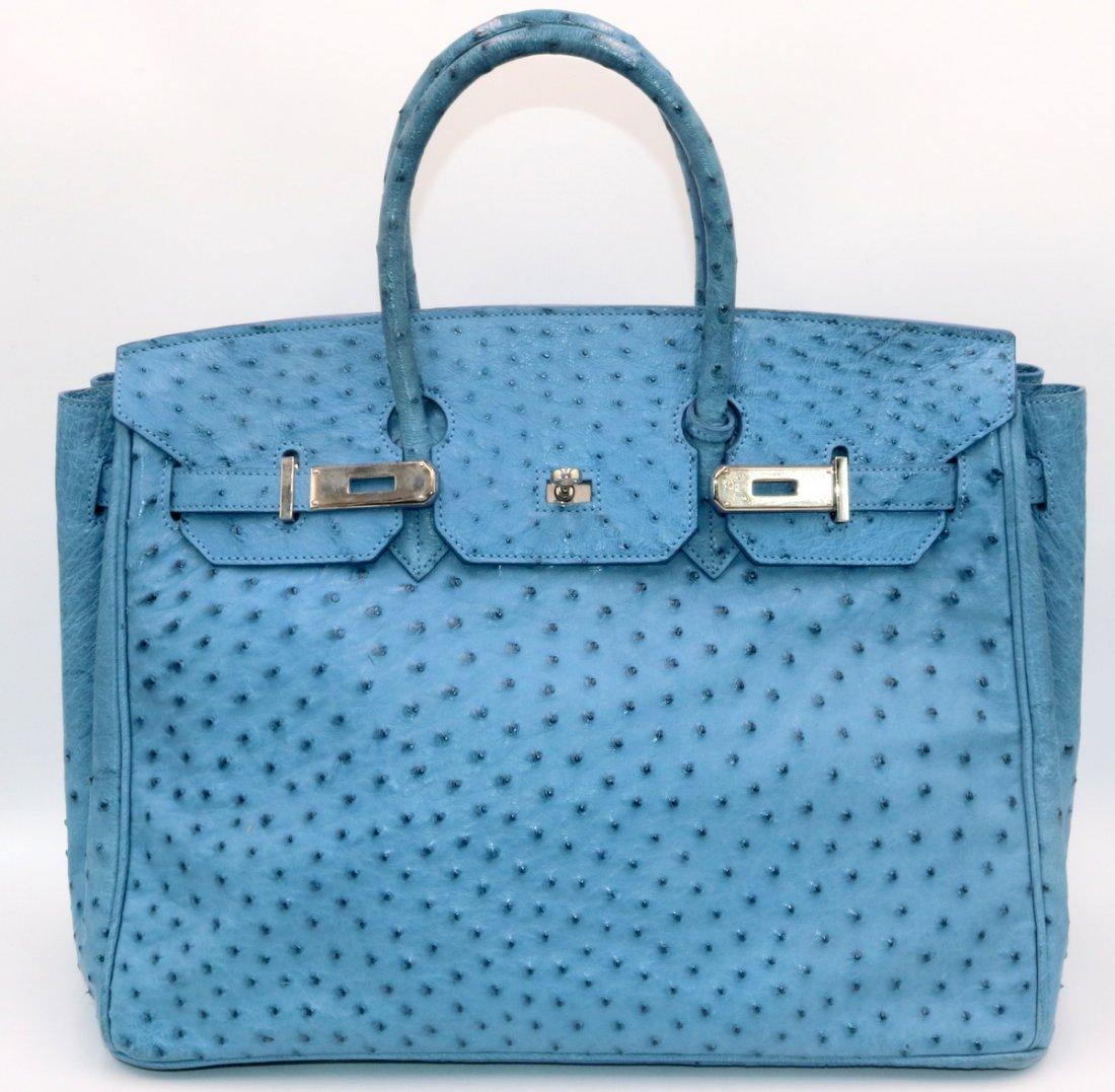 Birkin Style Blue Ostrich Bag & Belt - 2