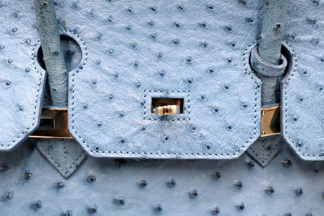 Birkin Style Blue Ostrich Bag & Belt - 3