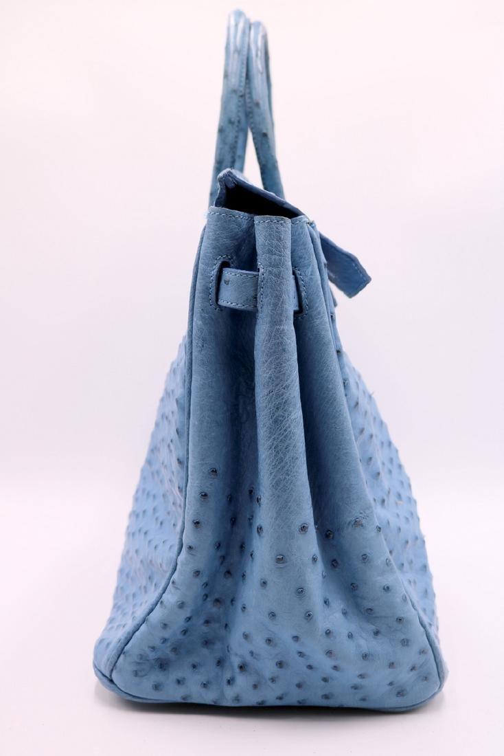 Birkin Style Blue Ostrich Bag & Belt - 4