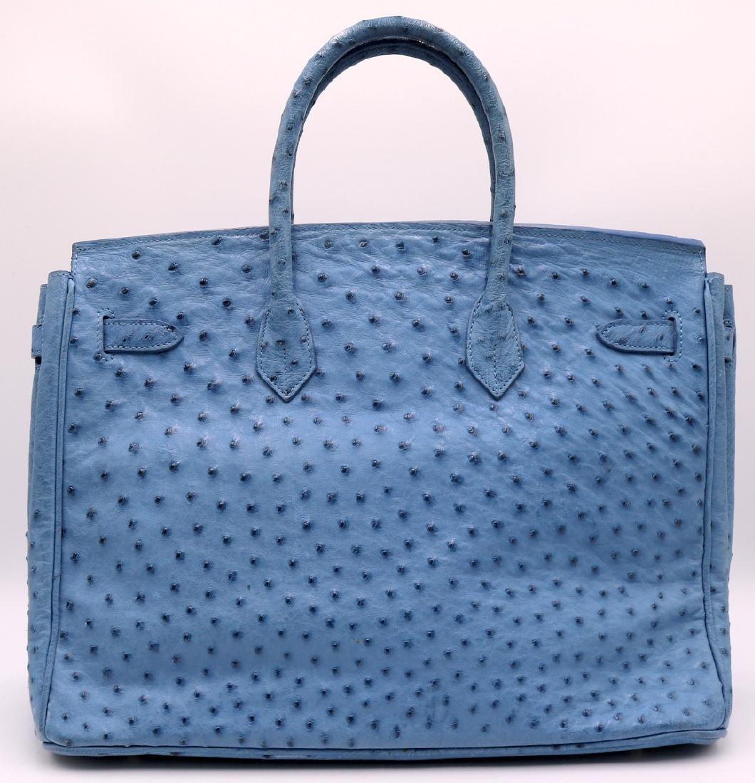 Birkin Style Blue Ostrich Bag & Belt - 5