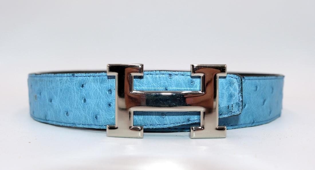 Birkin Style Blue Ostrich Bag & Belt - 6