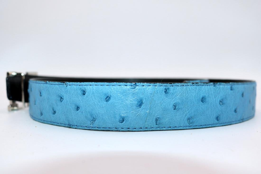 Birkin Style Blue Ostrich Bag & Belt - 7
