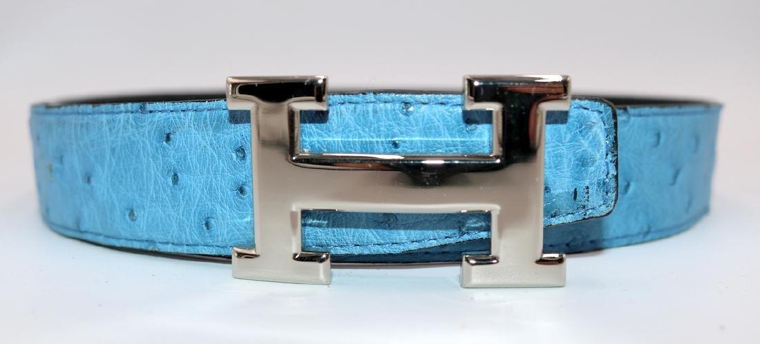 Birkin Style Blue Ostrich Bag & Belt - 8