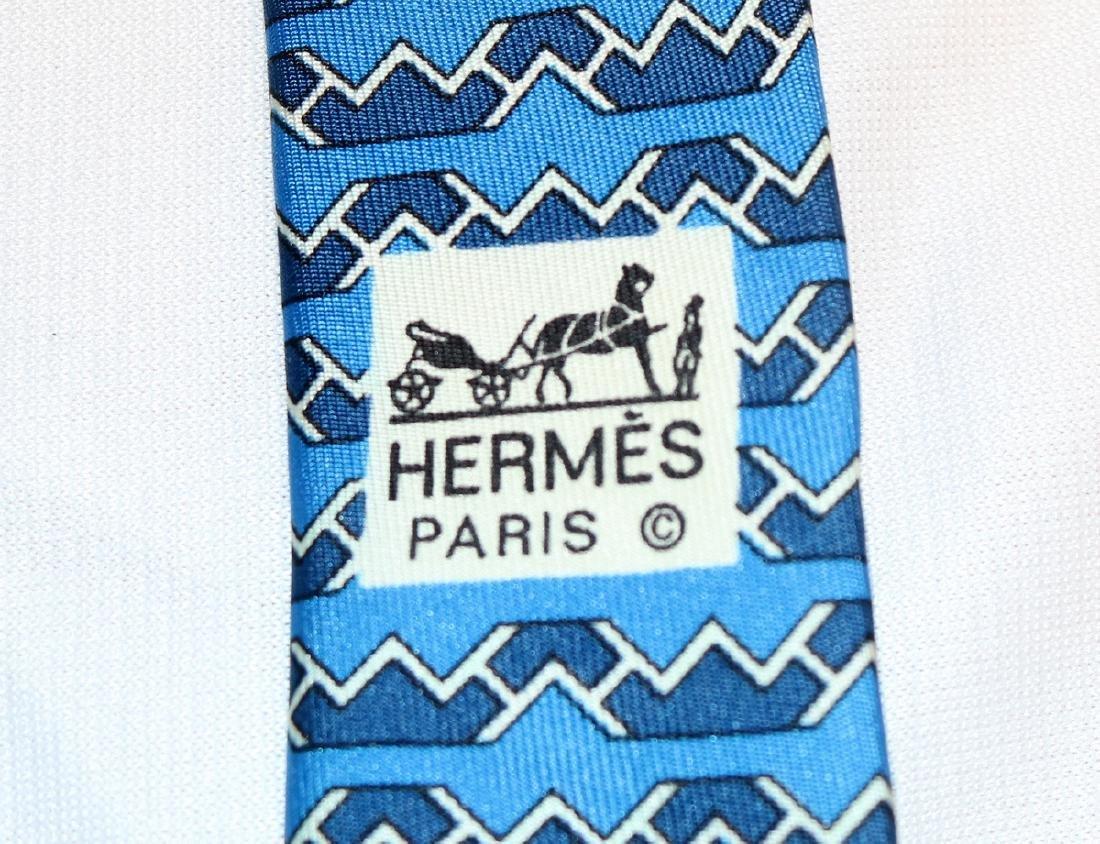 Two Hermes 100% Silk Ties - 5