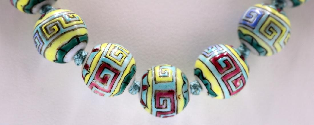 Chinese Hand Painted Porcelain Beaded Necklace - 2