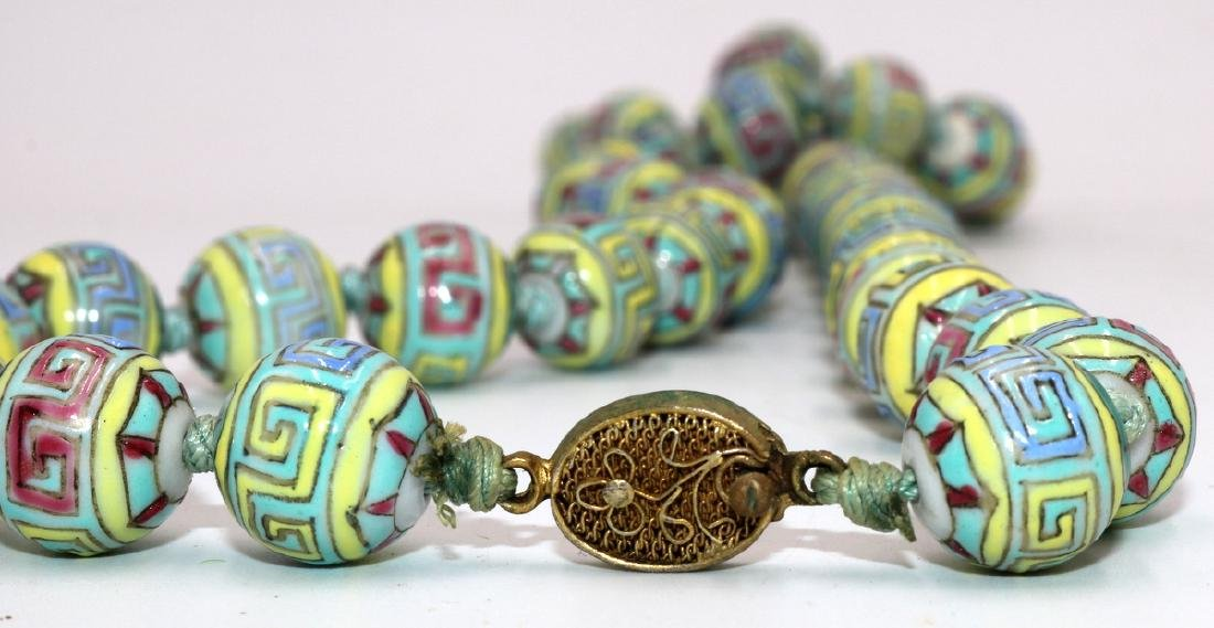 Chinese Hand Painted Porcelain Beaded Necklace - 3