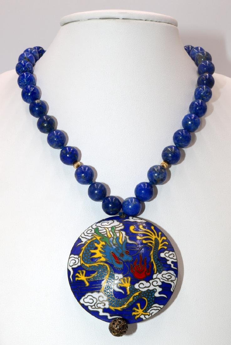 Chinese 14Kt YG Lapis Beaded Necklace & Cloisonne