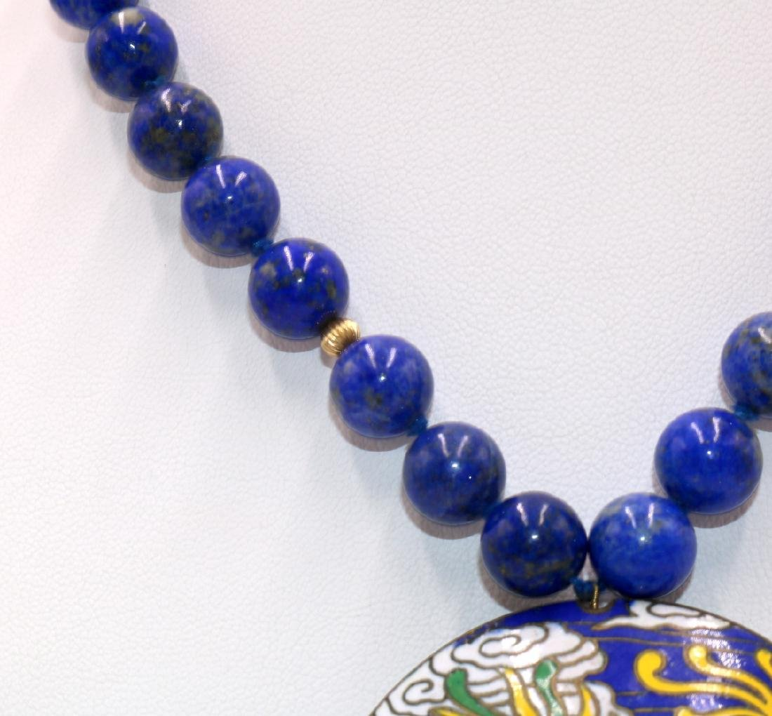 Chinese 14Kt YG Lapis Beaded Necklace & Cloisonne - 3
