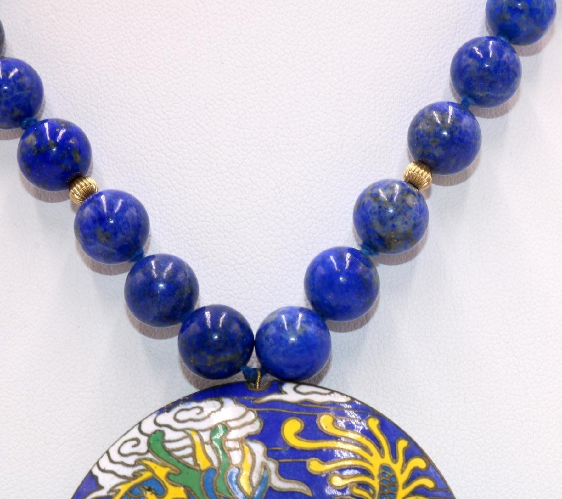 Chinese 14Kt YG Lapis Beaded Necklace & Cloisonne - 4