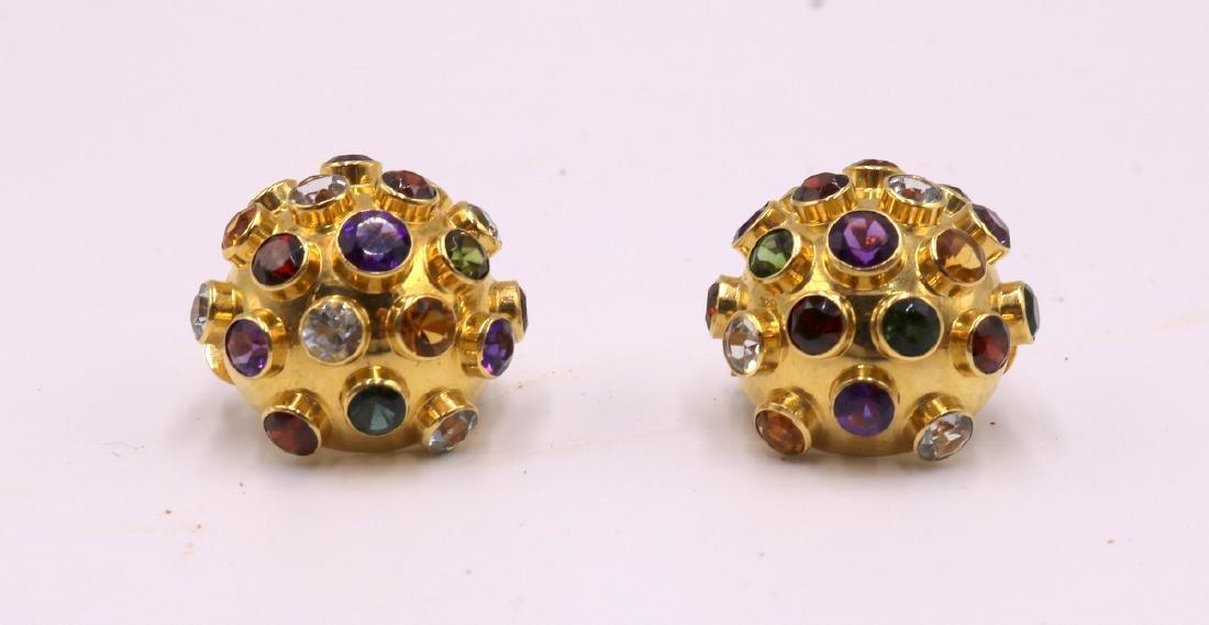 Pair of 18Kt YG Semi-Precious Stone Earrings